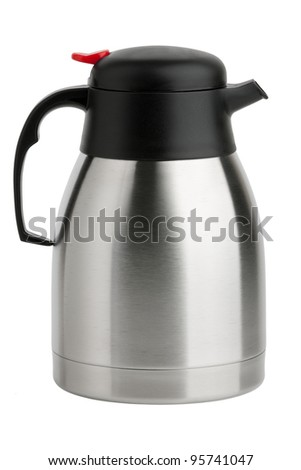 Metal Kettle-Thermos with spout on a white background - stock photo