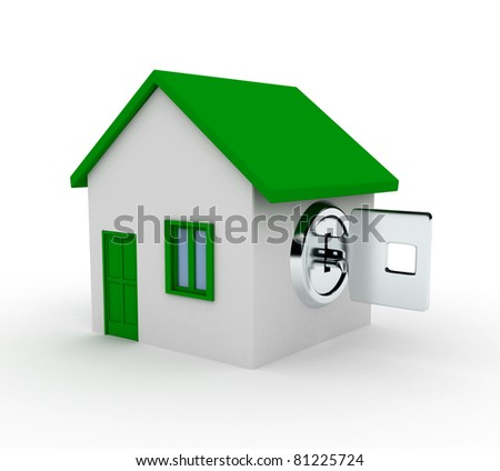 Metal key and house over white. 3d rendered image - stock photo