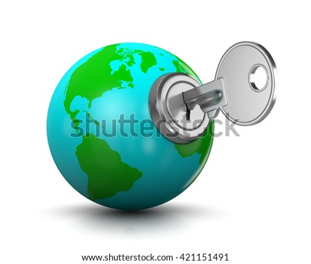 Metal Key Inserted in a Blue and Green World Globe Shaped Lock 3D Illustration on White Background - stock photo