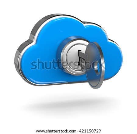 Metal Key Inserted in a Blue Cloud Shaped Lock 3D Illustration on White Background, Cloud Computing Security Concept - stock photo