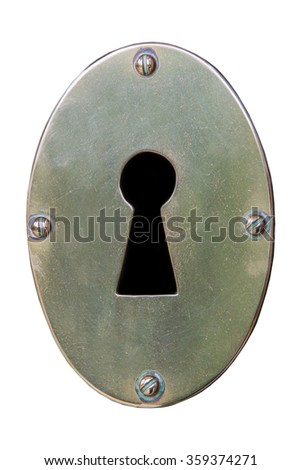 Metal keyhole isolated on a white back ground - stock photo