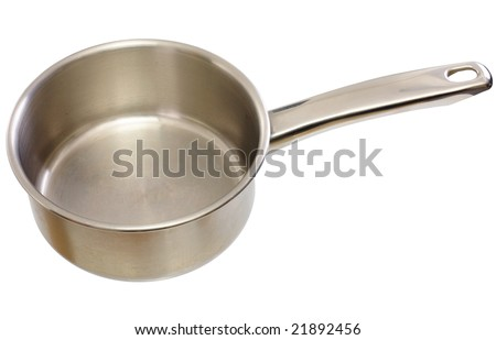 Metal kitchen ladle on a white background