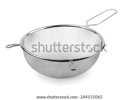 Metal kitchen sieve isolated on white - stock photo
