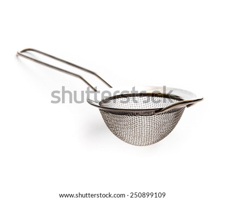 metal kitchen strainer isolated on a white background - stock photo