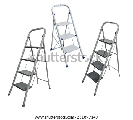 metal ladder isolated on white - stock photo