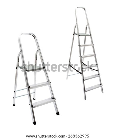 metal ladder isolated on white with clipping path - stock photo