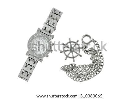 Metal ladies watch - stock photo