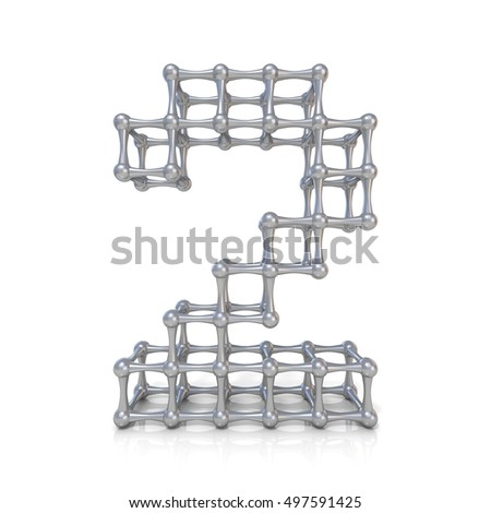 Metal lattice digit number TWO 2 3D render illustration isolated on white background