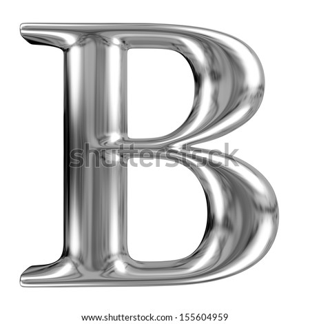 Metal Letter B from chrome solid alphabet. - stock photo