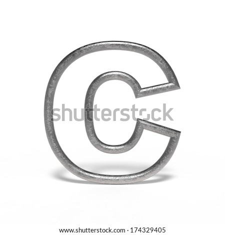 metal letter C isolated on white background - stock photo