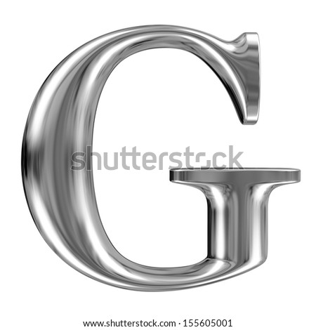 Metal Letter G from chrome solid alphabet. - stock photo