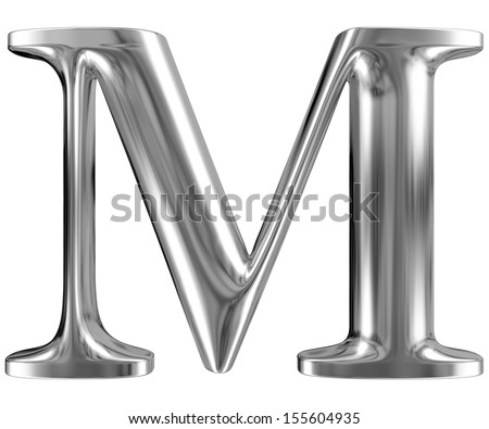 Metal Letter M from chrome solid alphabet. - stock photo