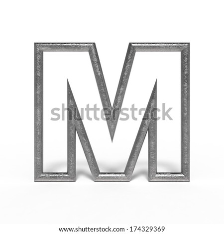 metal letter M isolated on white background - stock photo