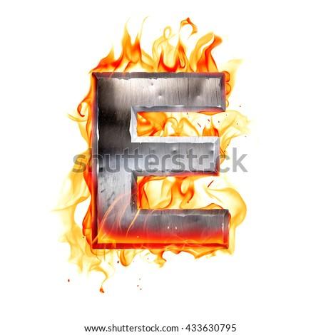 Metal letter on fire. 3D illustration. - stock photo