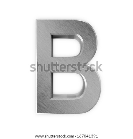 Metal Letters isolated on white background (Letter B) - stock photo