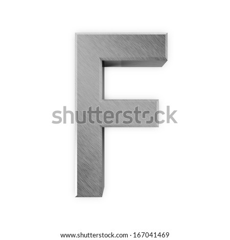 Metal Letters isolated on white background (Letter F)