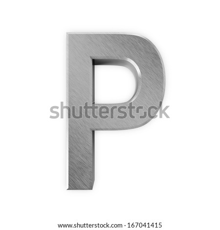 Metal Letters isolated on white background (Letter P)