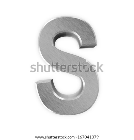 Metal Letters isolated on white background (Letter S) - stock photo