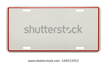 Metal License Plate With Copy Space Isolated on White Background. - stock photo