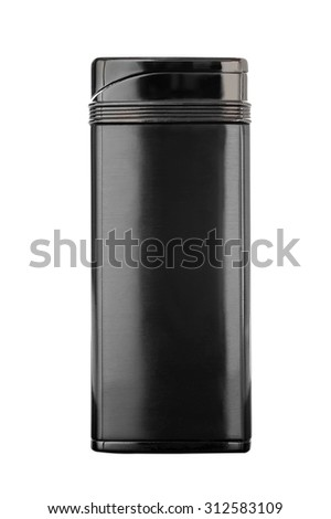 Metal Lighter colored gun metal, polished, isolated on a white b - stock photo