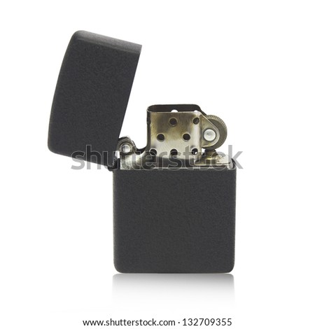 Metal lighter isolated on white background, Black color - stock photo