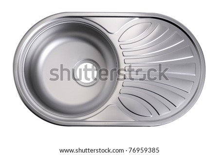 Metal linen kitchen sink isolated on white - stock photo