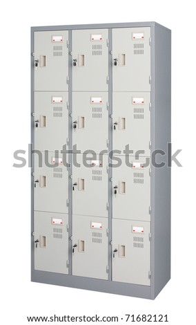 Metal locker in grey color use in the gyms room office or others utility - stock photo