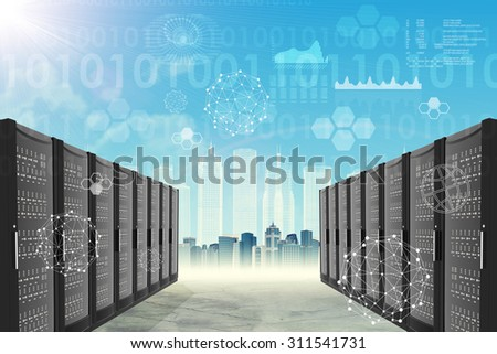 Metal locker on abstract blue cityscape background with graphs
