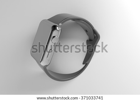 metal looking smart watch 3d render with dark wristband, watches are stick out the wall