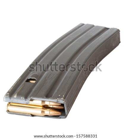 Metal magazine for a modern sporting rifle with brass cartridges - stock photo