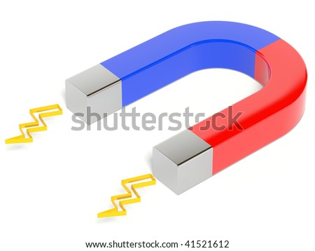 metal magnet on white background - stock photo