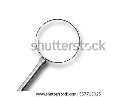 metal magnifier search on white surface 3d illustration
