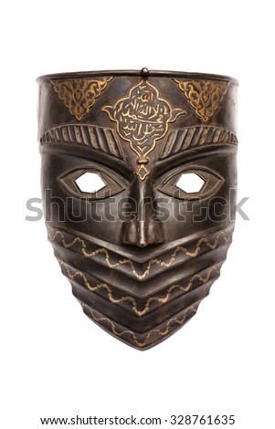 Metal mask isolated on white - stock photo