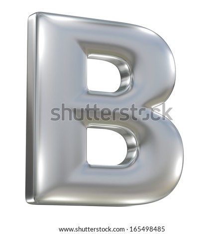Metal matte letter B from aluminium solid alphabet isolated on white - stock photo