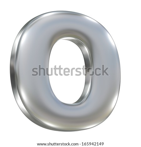 Metal matte lowercase letter from aluminum solid alphabet isolated on white
