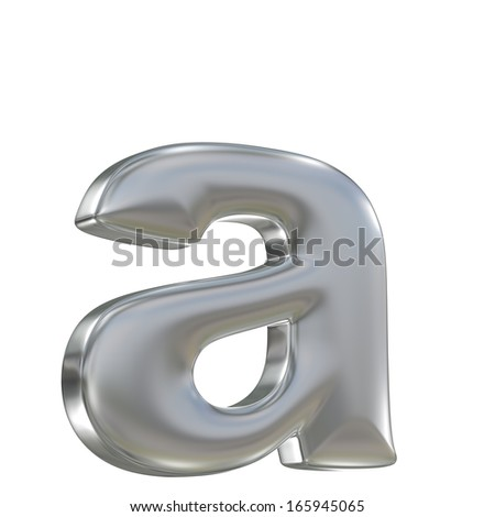 Metal matte lowercase letter from aluminum solid alphabet isolated on white - stock photo