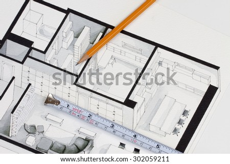 Metal measuring tape and sharp pencil on authentic artistic inspiring floor plan home fragment symbolizing handmade trends in contractor investment home building business and funding - stock photo