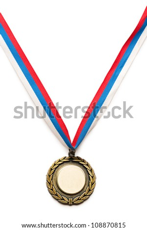 Metal medal with tricolor ribbon - stock photo