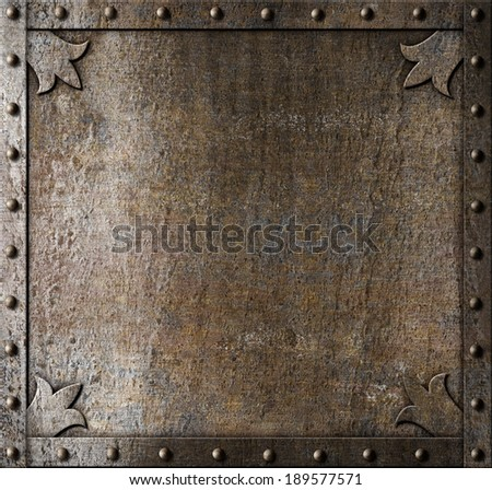 metal medieval door background - stock photo