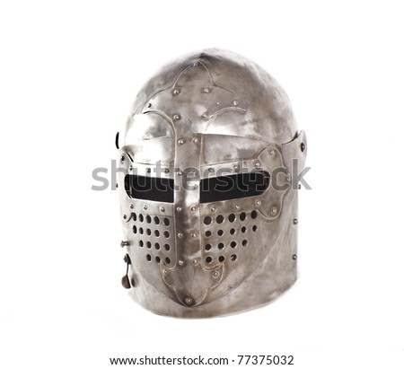 Metal medieval helmet Isolated on white - stock photo