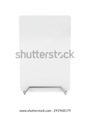 Metal menu holder with white paper  - stock photo