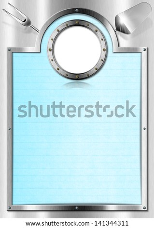 Metal Menu with Porthole / Restaurant metal menu with metal porthole and blue empty page  - stock photo