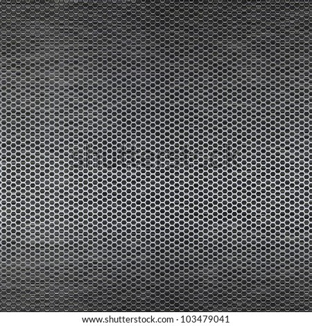 Metal mesh texture background over brushed metal sheet - stock photo
