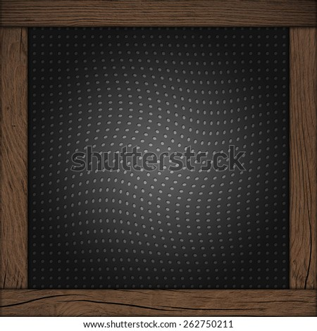 Metal mesh texture background with wood frame - stock photo