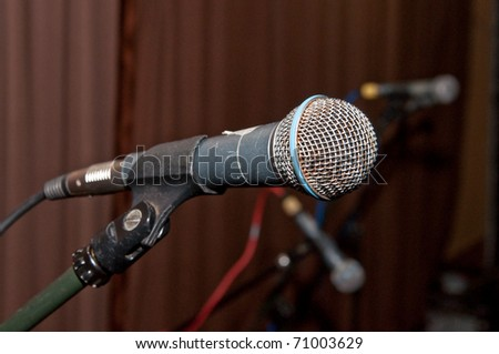 metal microphone on stage before show