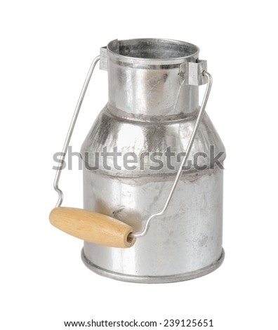 Metal milk can, isolated on a white background