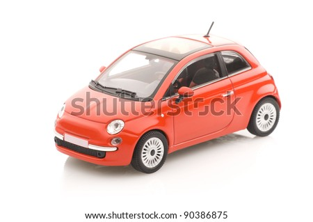 Metal model car with a sun roof. - stock photo