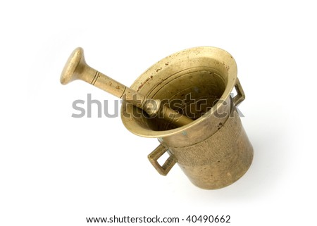 metal mortar and pestle on white background - stock photo