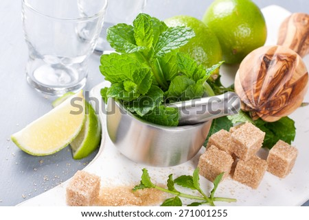 Metal mortar and pestle with fresh mint and ingredients for  mojito, caipirinha cocktails and other drinks - stock photo