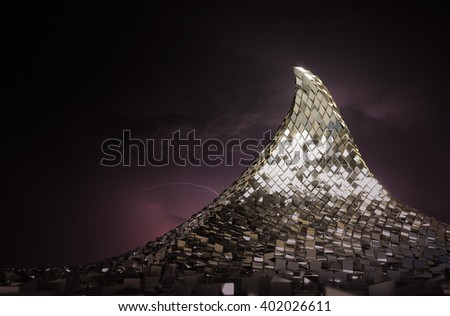 Metal mountain in the abstract 3D rendering.